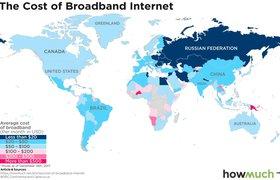 HowMuch показала карту с самым дешевым интернетом в мире