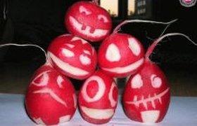Редиски в стиле Хеллоуин