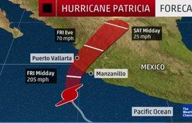 """Самый сильный в истории ураган """"Патрисия"""" подходит к Мексике. ВИДЕО"""