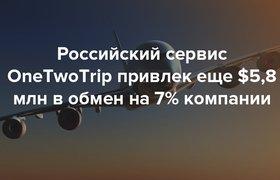 Российский сервис OneTwoTrip привлек $5,8 млн в обмен на 7% компании