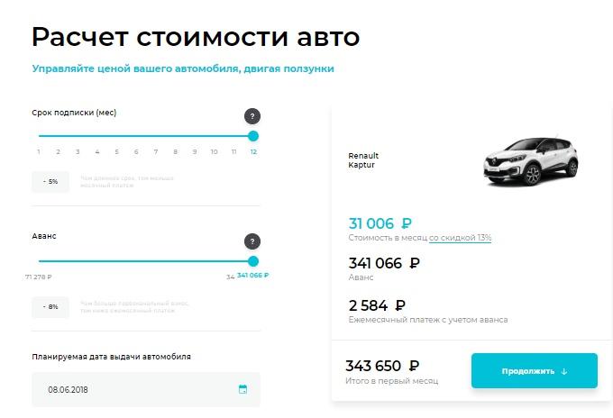 В столице появился новый сервис аренды машин поподписке