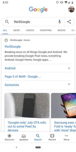 В приложении Google для Android появилась возможность поделиться ссылкой на запрос