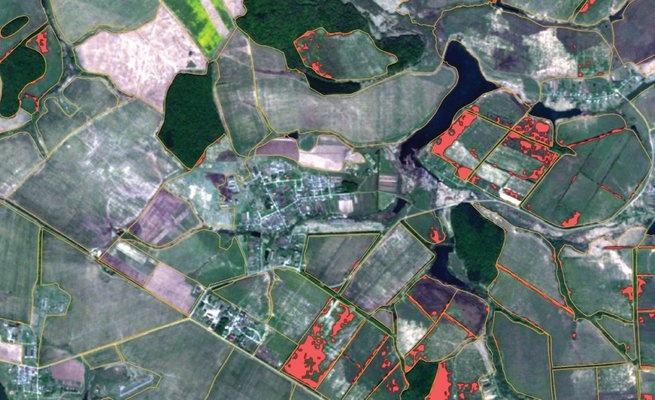Участки зарастания сельскохозяйственных земель обозначены красным цветом