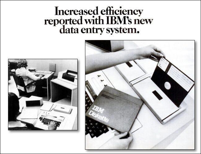 история дискет, реклама IBM 3740