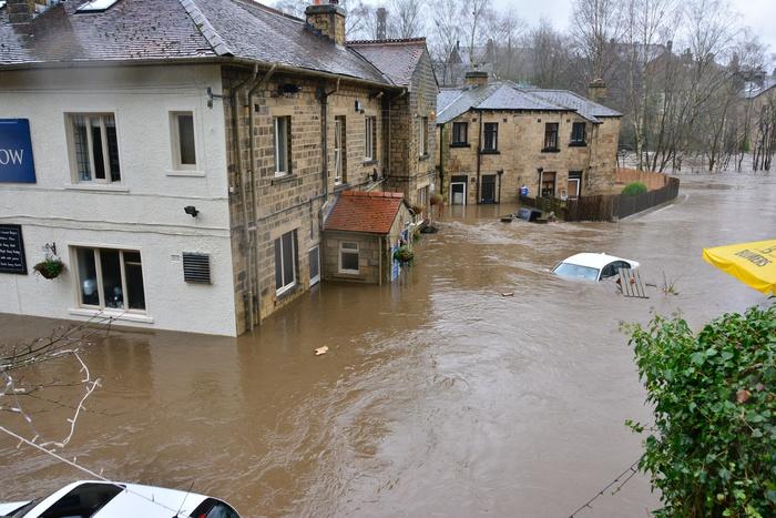 наводнение в городе, паводок, великобритания